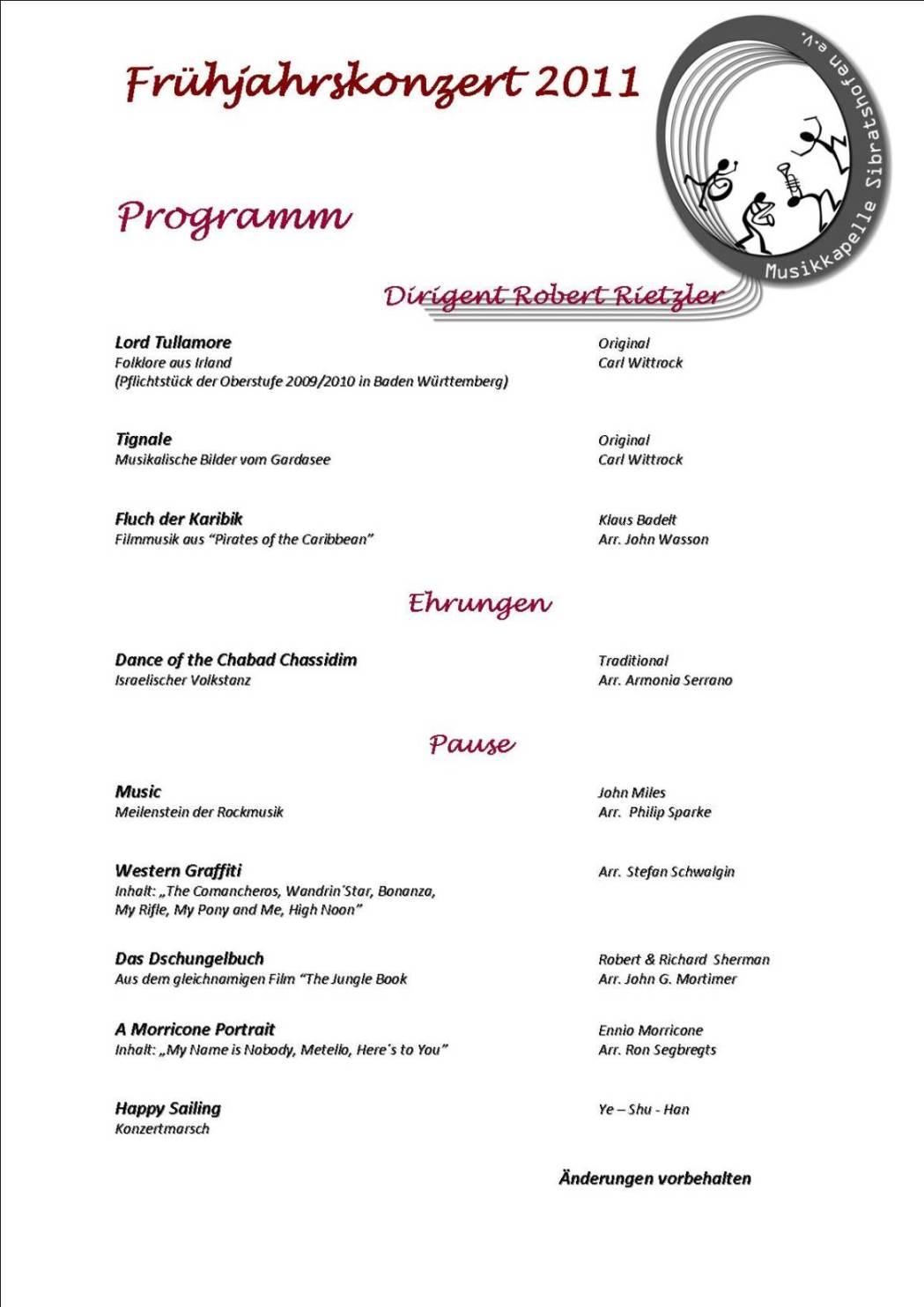 Konzertprogramm 2011