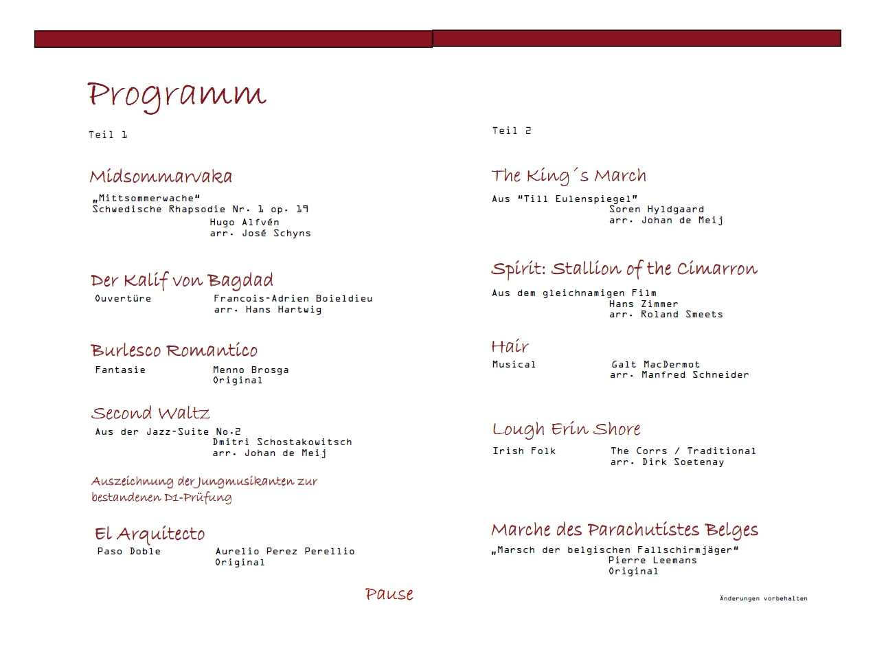 Konzertprogramm 2012