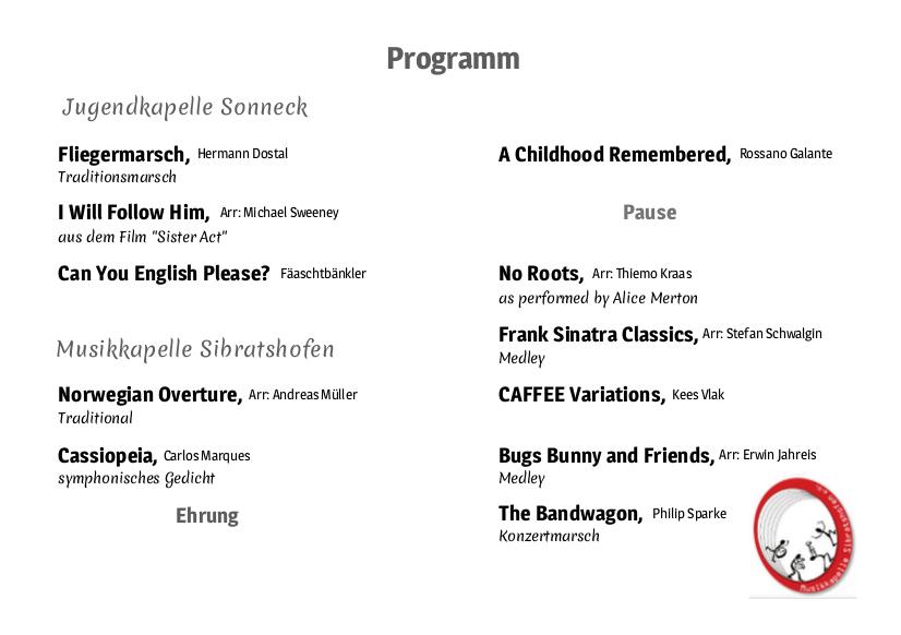 Konzertprogramm 2019